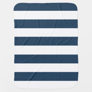 Manta intrépida del azul marino y blanca de las mantas de bebé