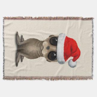 Manta León marino del bebé que lleva un gorra de Santa