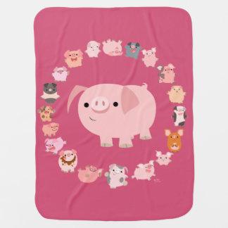Manta linda del bebé de la mandala del cerdo del