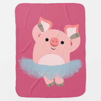 Manta linda del bebé del cerdo de la bailarina del