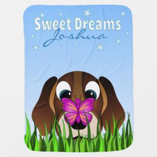 Manta linda del bebé del perro y de la mariposa de mantas de bebé