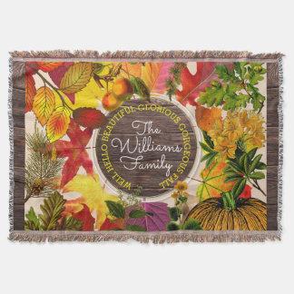 Manta Madera del vintage del collage de las hojas de