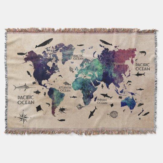 Manta mapa del mundo del océano