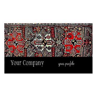manta oriental roja blanca negra tarjetas de visita