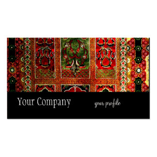 Manta oriental verde roja tarjetas de visita