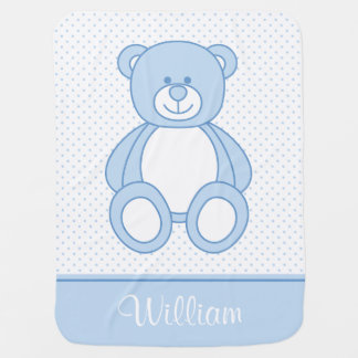 Manta personalizada azul del bebé del oso de