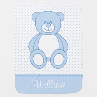 Manta personalizada azul del bebé del oso de mantas de bebé