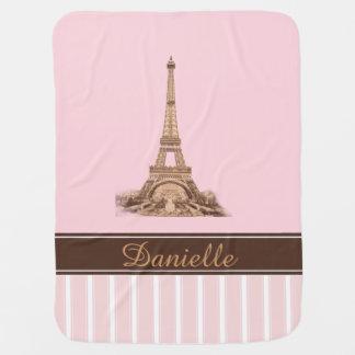 Manta personalizada Brown rosada del bebé de París