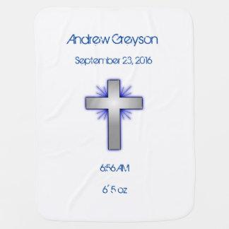 Manta personalizada cruz cristiana azul del bebé