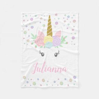Manta personalizada del bebé del unicornio
