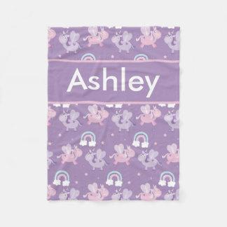 Manta personalizada del unicornio de Ashley