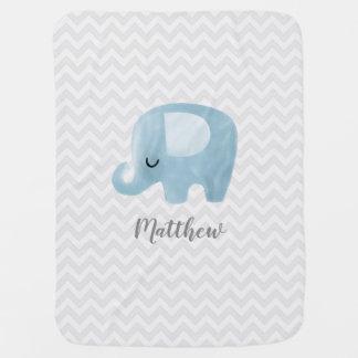 Manta personalizada elefante lindo del bebé del