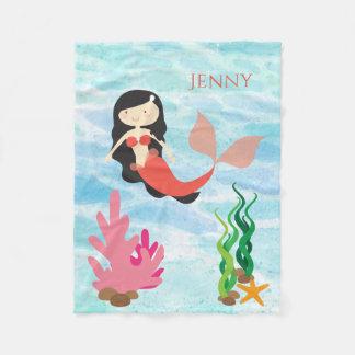 Manta personalizada sirena linda del bebé del paño