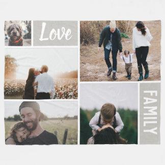 Manta Polar Amor y collage de la foto de familia