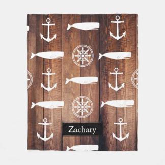 Manta Polar Ancla náutica de la ballena y tablones de madera