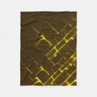 Manta Polar Armadura geométrica amarilla rústica del batik de