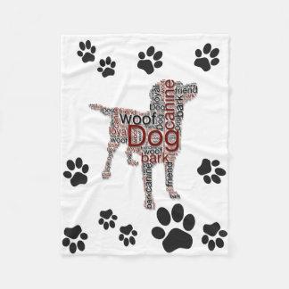 Manta Polar Arte lindo de la palabra de la imagen del perro e