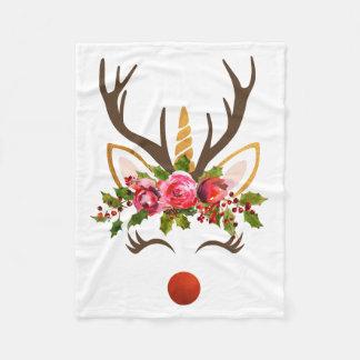 Manta Polar Asta del reno del unicornio/flores del navidad
