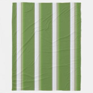 Manta Polar Blanco moderno en raya verde