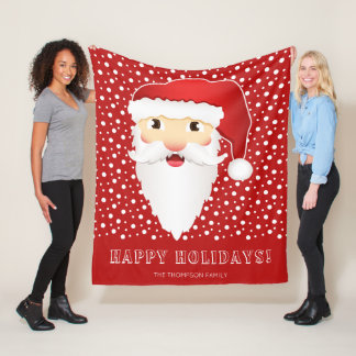 Manta Polar Cabeza feliz de Papá Noel y navidad rojo conocido