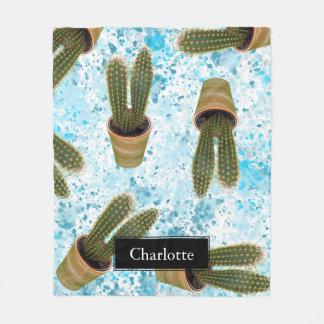 Manta Polar Cactus suculento en los potes y la acuarela azul