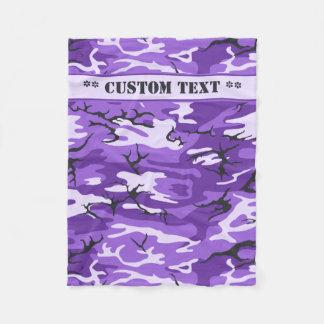Manta Polar Camo púrpura con el texto de encargo
