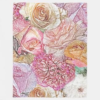 Manta Polar Campo de rosas en lápiz del color