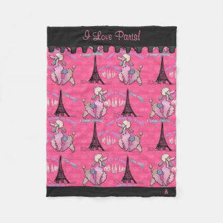 Manta Polar Caniche atractivo en París en el rosa