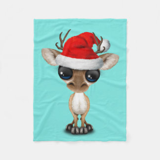 Manta Polar Ciervos del bebé que llevan un gorra de Santa