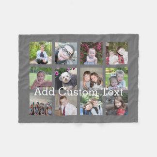 Manta Polar Collage de 12 fotos con el fondo del gris de