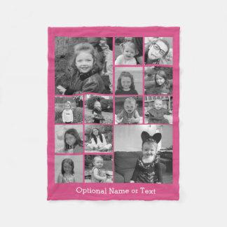 Manta Polar Collage de la foto de Instagram - rosa de hasta 14