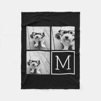 Manta Polar Collage de moda blanco y negro de la foto con el