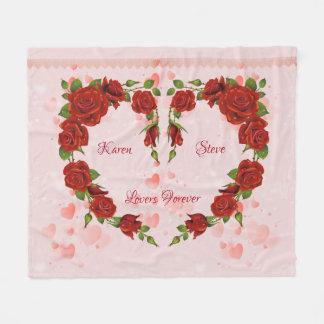 Manta Polar Corazón de rosas