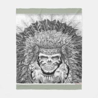 Manta Polar Cráneo del nativo americano con el tocado