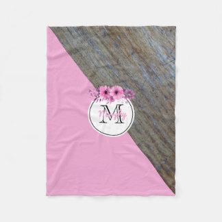Manta Polar Cuarto de niños rosado floral de madera rústico
