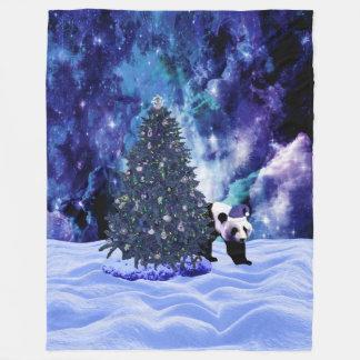 Manta Polar Día de fiesta del navidad de la panda en el Polo