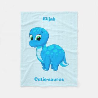 Manta Polar Dinosaurio lindo del bebé azul
