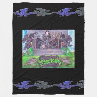 Manta Polar Dragón verde del negro azul del unicornio del