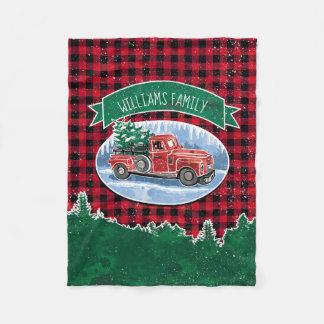 Manta Polar El camión del vintage del navidad añade nombre
