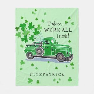 Manta Polar El camión del vintage del verde del día de St