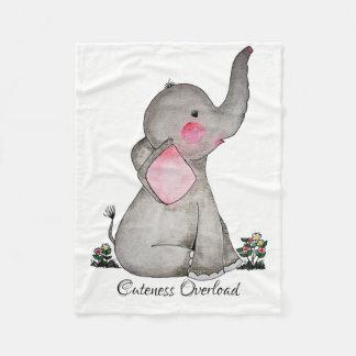 Manta Polar El elefante lindo del bebé de la acuarela con se
