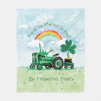 Manta Polar El trébol verde del tractor del vintage añade