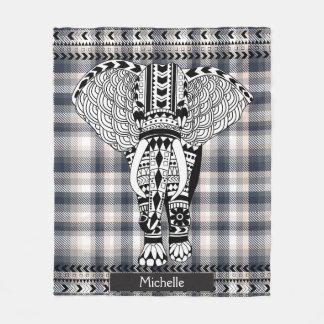 Manta Polar Elefante modelado tribal de la tela escocesa poner