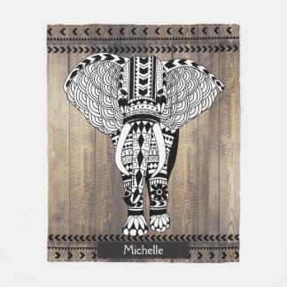 Manta Polar Elefante modelado tribal de los tablones de madera