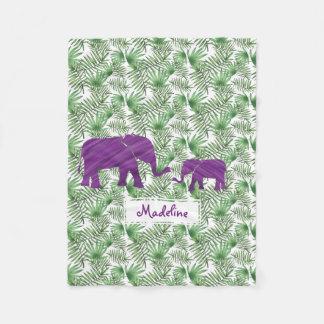 Manta Polar Elefantes púrpuras y bebé de hoja de palma del