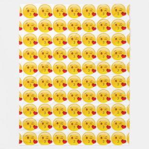 Manta Polar Emoji del Beso-Corazón