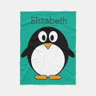Manta Polar esmeralda linda y negro del pingüino del dibujo