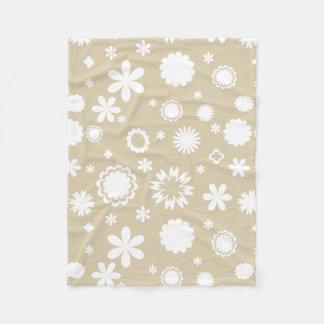Manta Polar Estampado de flores en beige