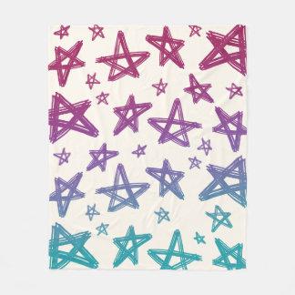 Manta Polar Estrellas magentas, púrpuras, y del trullo a mano
