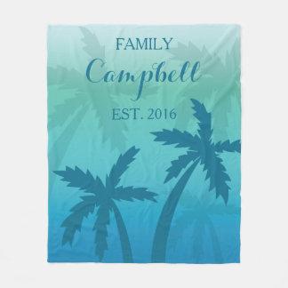 Manta Polar Familia de encargo tropical de la palmera azul de